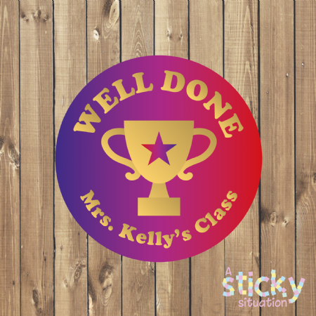 Personalised School Stickers - Well Done Award